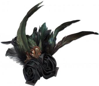 Federbrosche Rose schwarz