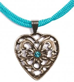 Herzkette mit Stein und 2 Satinbändern, türkis