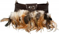 Vorschau: Trachtentasche braun Federn