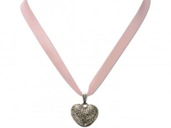 Satin Halskette mit Strassherzerl rosa