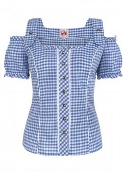 Carmen blouse Pilla blauw-wit
