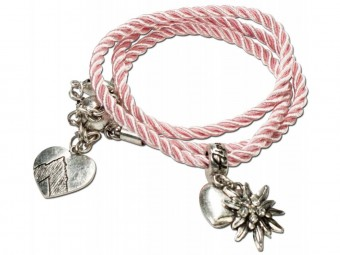 Braided Bracelet with Silver Charms, Rose Pink