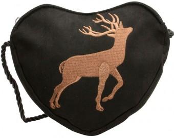Herztasche Trachtentasche schwarz Hirsch