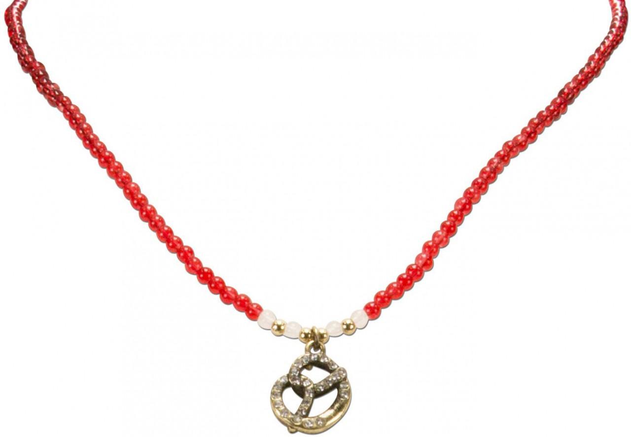 Perlenhalskette Strass-Brezel rot
