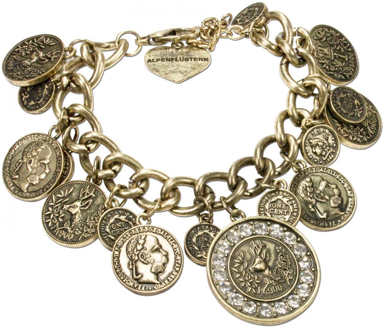 Münz-Armband Glitzerhirsch altgold
