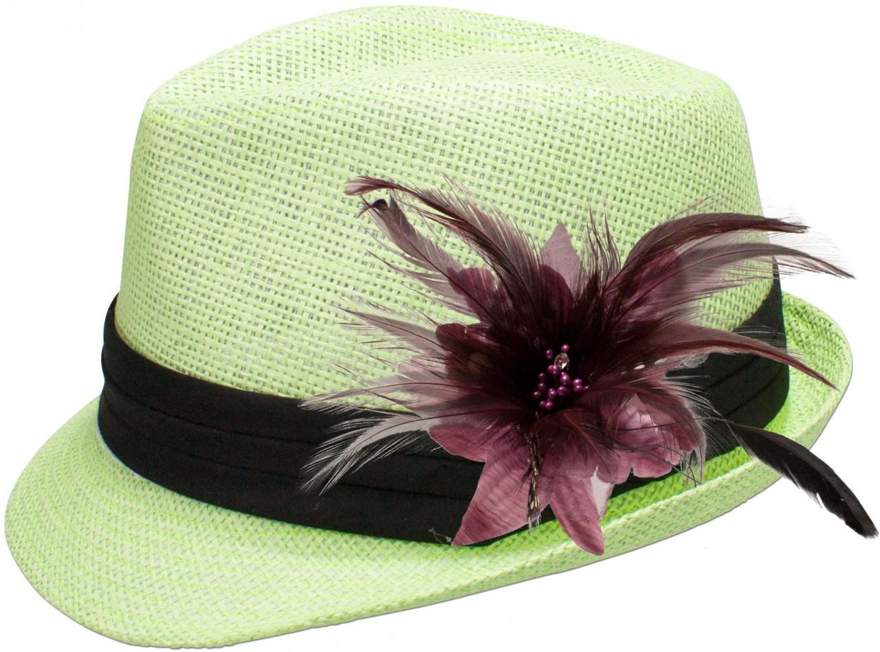 Strohhut Britta mit Federbrosche lila-grau