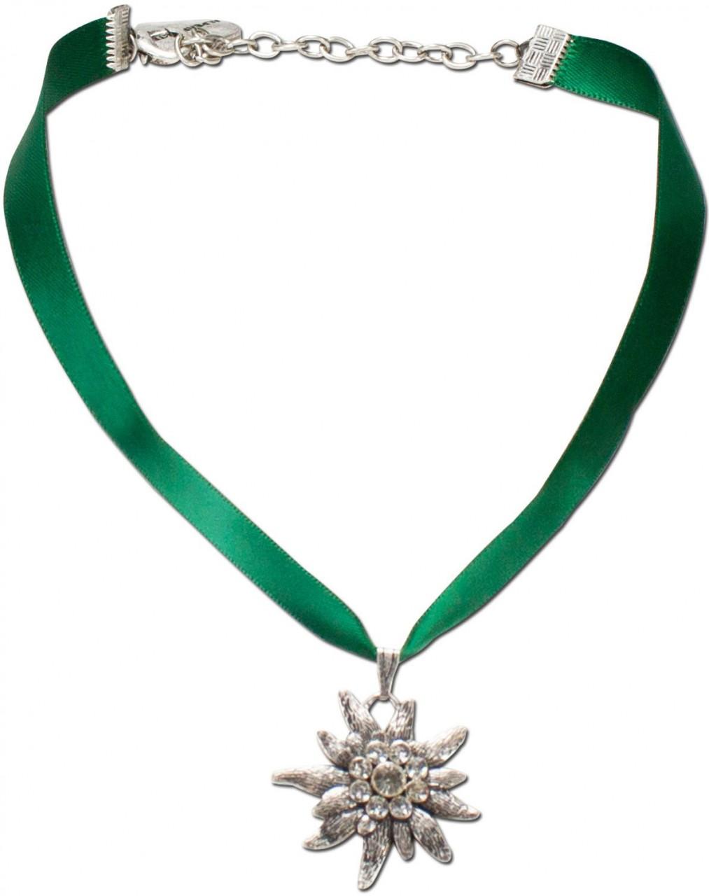 Satynowy naszyjnik narodowy Marlene zielony
