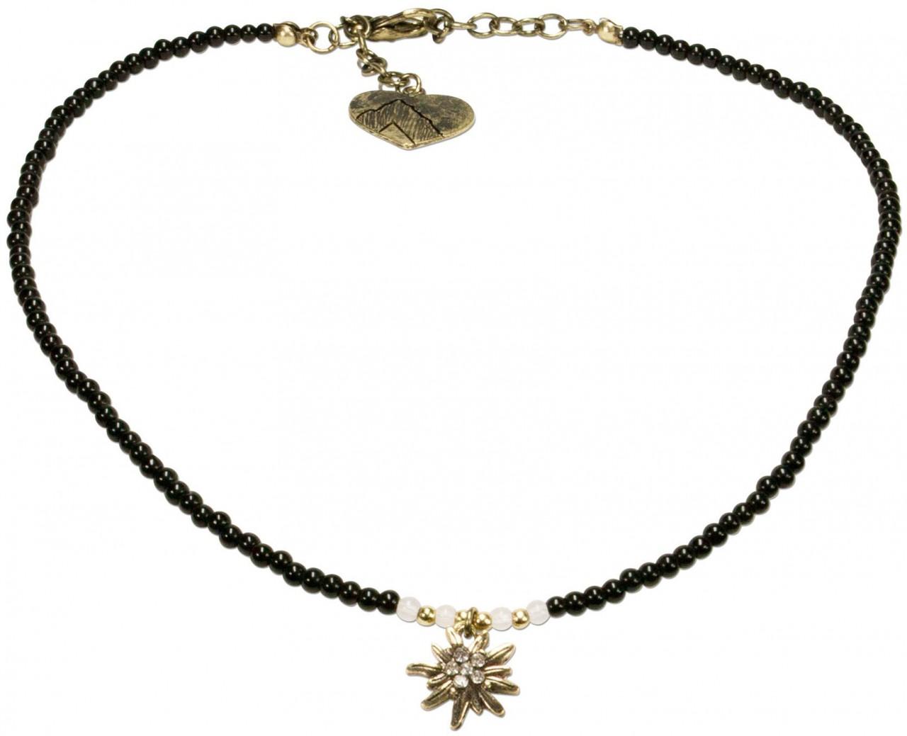 Perlenhalskette Strass-Edelweiß schwarz