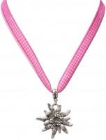 Vorschau: Karoband-Trachtenkette Edelweiß pink