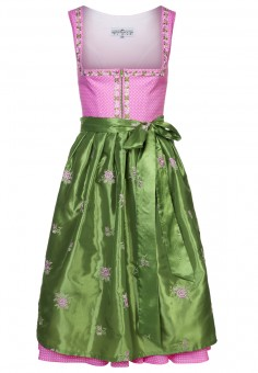 Felice Rosa dirndl with green rose-design apron