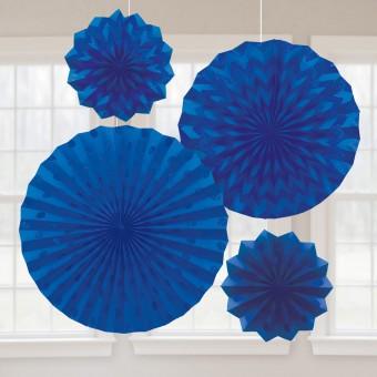 4 blaue glitzernde Papierrosetten