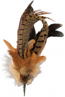 Pheasant Feather Brooch, Brown