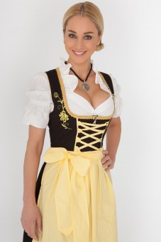 3-piece black midi dirndl with yellow apron