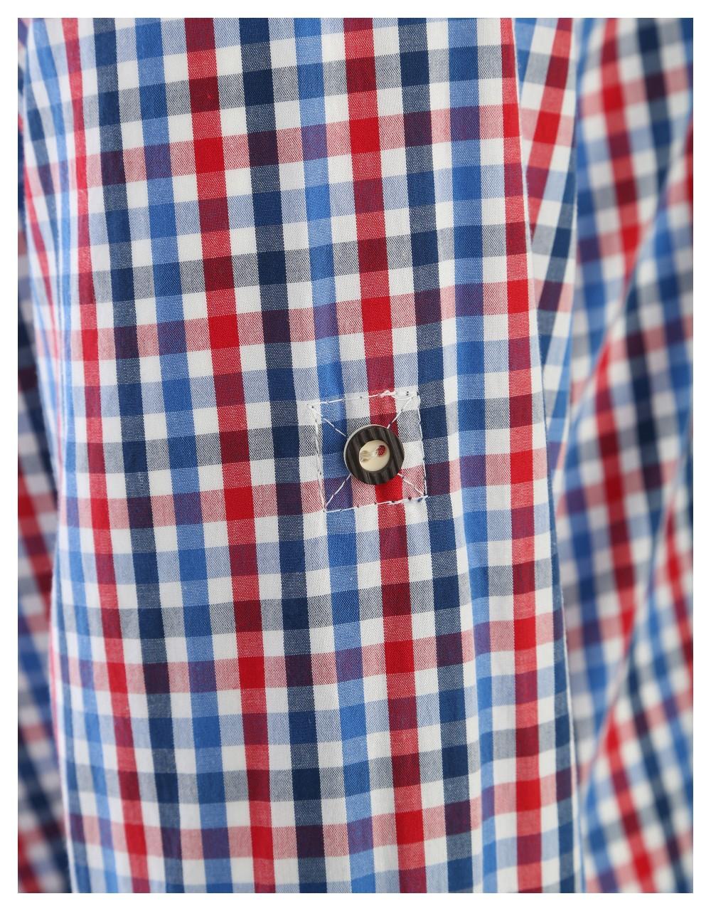 Trachten shirt Olymp blauw / rood geruit
