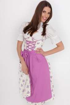 3-piece white and purple floral dirndl