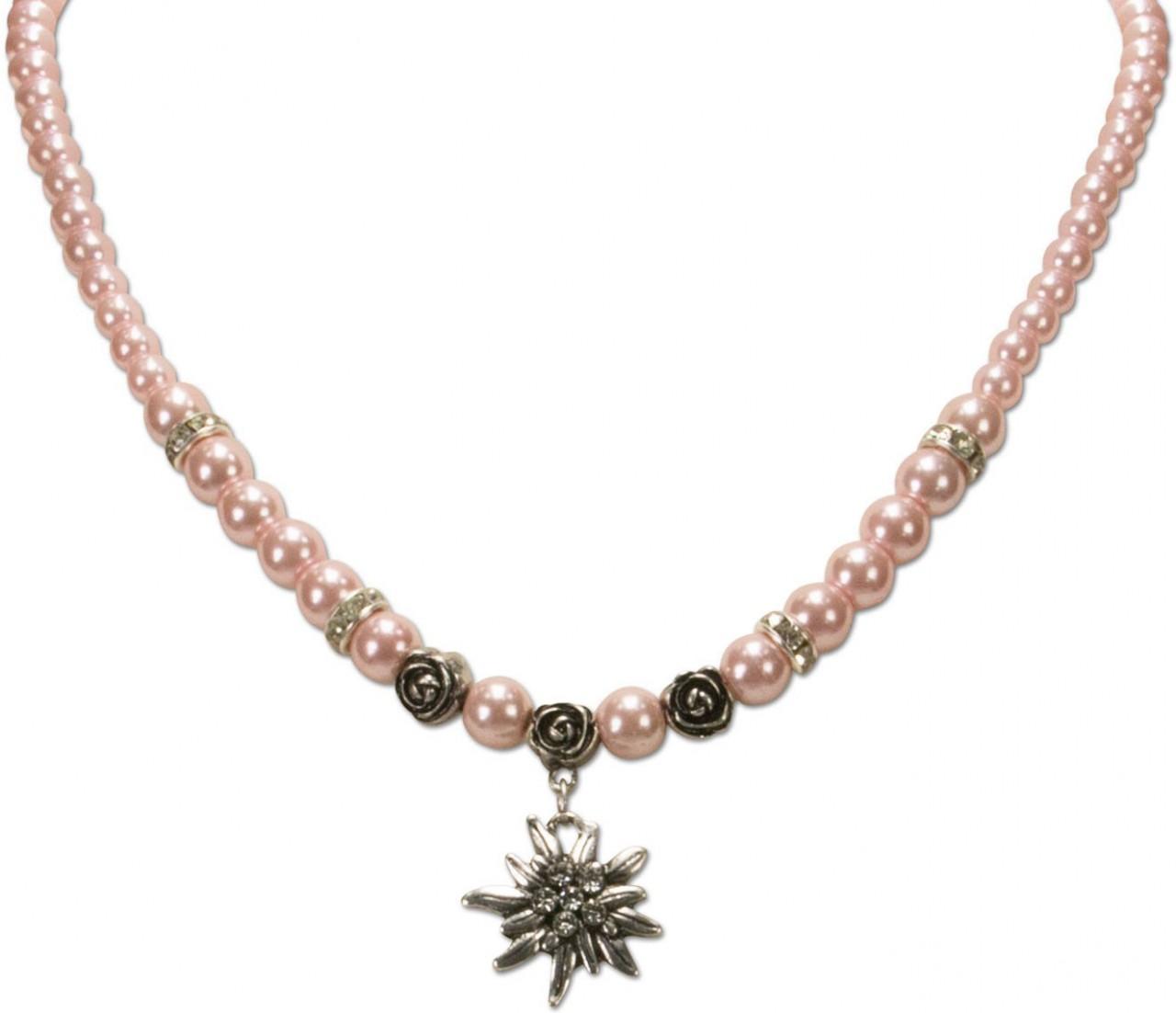 Naszyjnik Trachten mały szarotka różowa