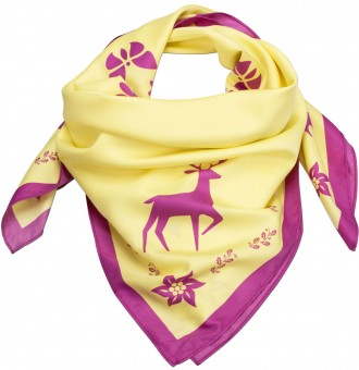 Neckerchief, Forest Print, Yellow-Pink