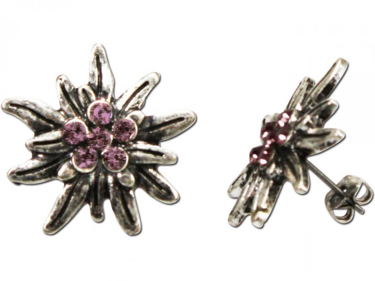 Traditionele oorbellen strass antiek zilver-rose