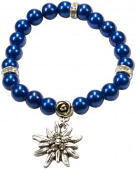 Perlenarmband Laura Edelweiß dunkelblau