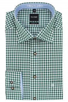 Olymp Shirt, Green-White Checked