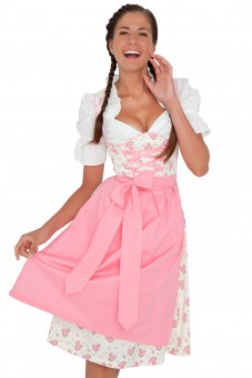 Modern 3-piece white dirndl with floral print