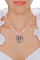Vorschau: Herzkette mit Stein und 2 Satinbändern, rosa