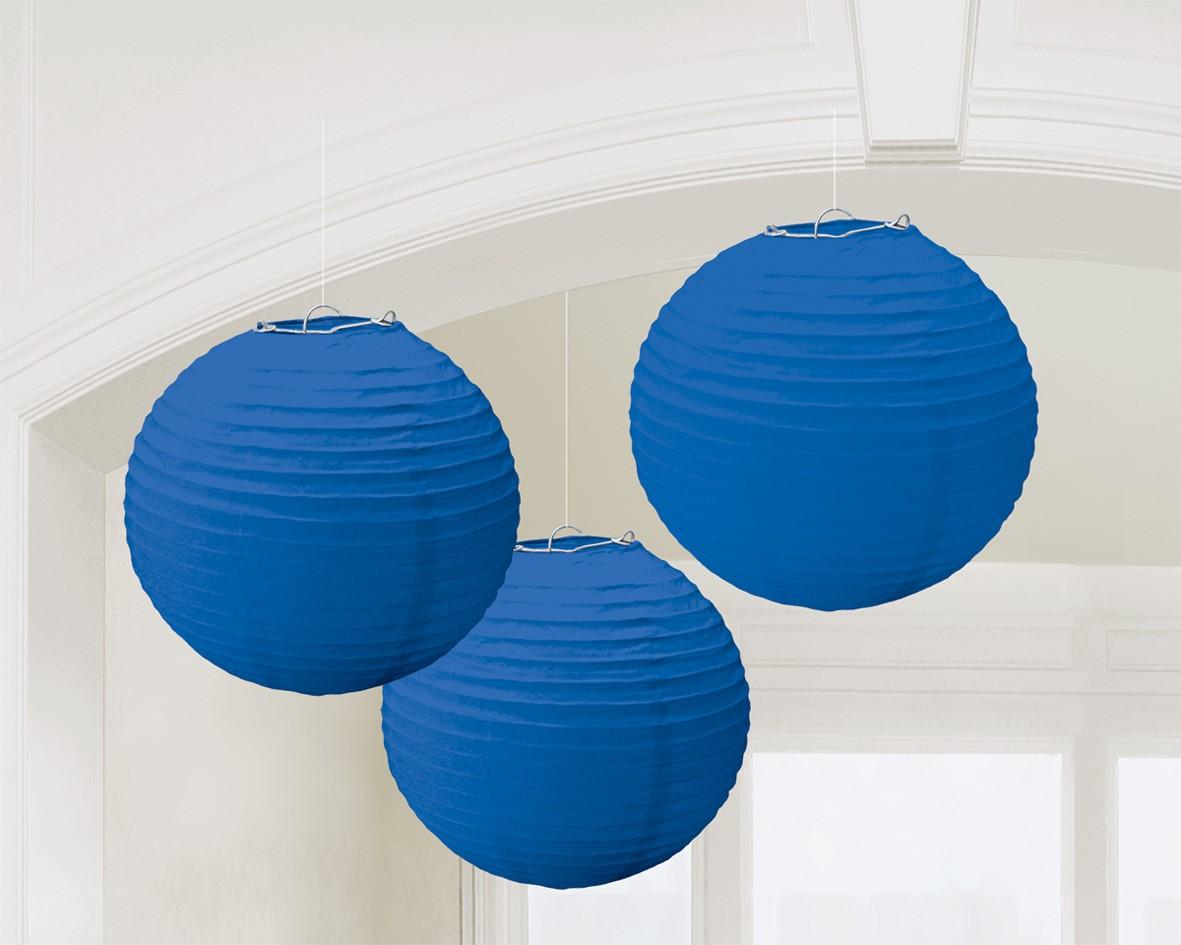 3 blaue Lampions 24cm