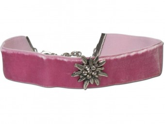 Thick Velvet Choker with Edelweiß, Rose Pink