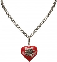 Preview: Trachten Edelweiss-Heart Pendant, Red