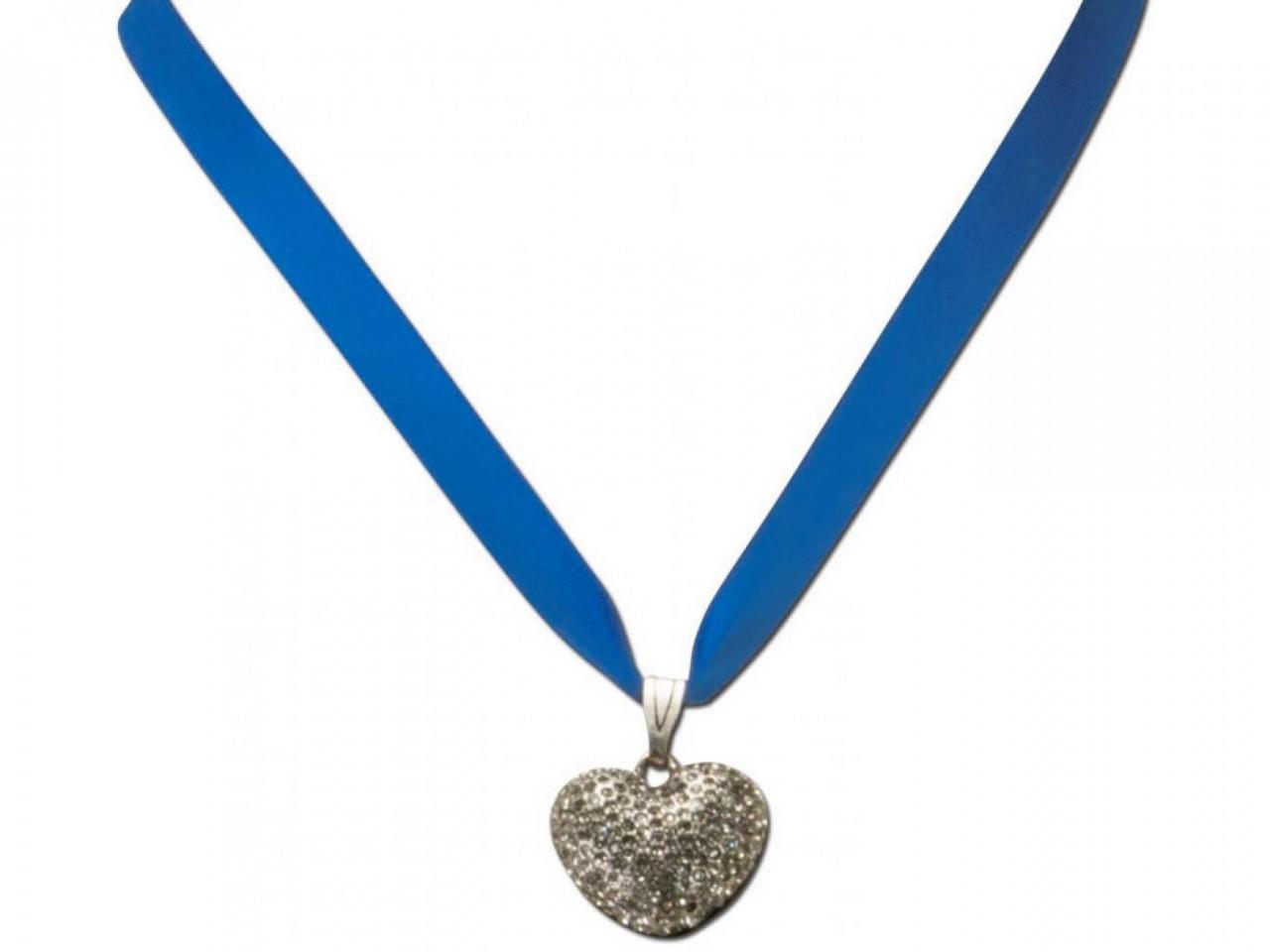 Satin necklace with rhinestone blue