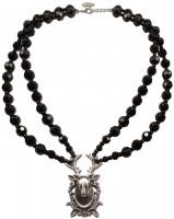 Vorschau: Perlenhalskette Hirschkopf schwarz