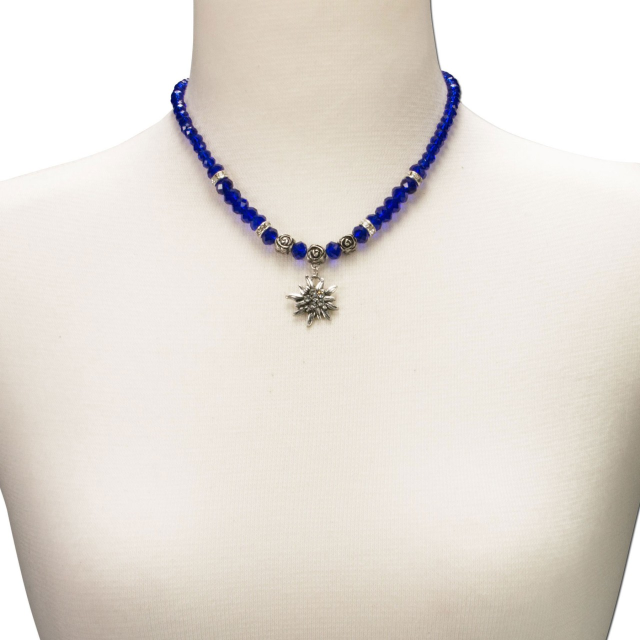 Perlenhalskette kleines Edelweiß blau