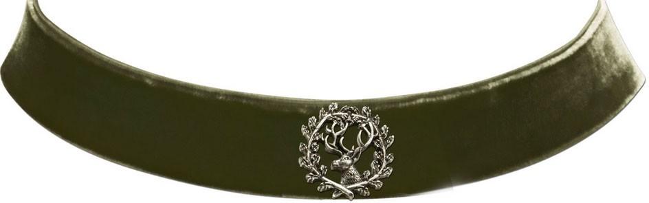 Trachten Kropfband mit Hirsch olive grün