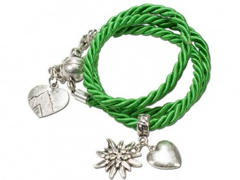Braided Bracelet with Silver Charms, Light Green