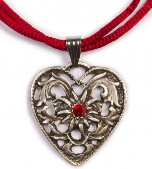 Herzkette mit Stein und 2 Satinbändern, bordeauxrot