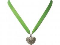 Vorschau: Satin Halskette mit Strassherzerl hellgrün