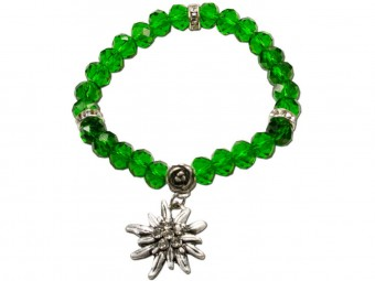 Trachten Crystal Bracelet, Edelweiß, Green