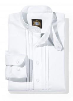 Riegelhemd mit Stehkragen weiß
