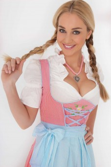 3-piece pink gingham dirndl with blue apron