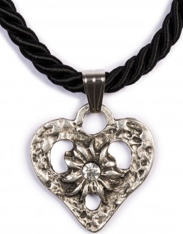 Kordelkette Herz mit Stein, schwarz