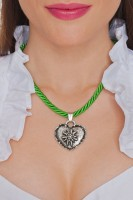 Preview: Braid Necklace with Edelweiss Heart, Apple Green
