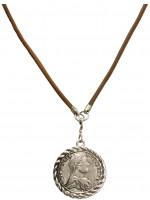 Vorschau: Lederhalskette Trachten-Münze braun