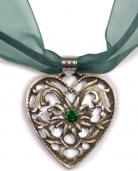 Dirndl Necklace - Bavarian Oktoberfest - Heart with Stone, fir green