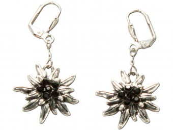 Trachten Earrings, Edelweiß, Silver-Black