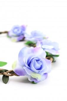 Haarband mit Rosen in Blau-Lila