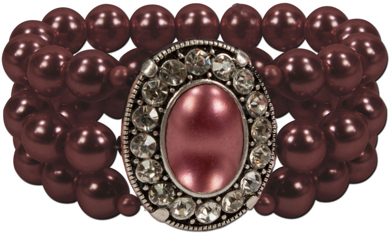 Perlenarmband Madeleine bordeaux
