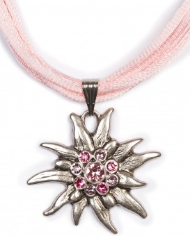 Satin Edelweiss Necklace, Rose Pink