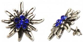 Trachten Ohrringe Strass altsilber-blau