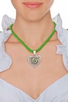 Vorschau: Kordelkette Herz mit Stein, apfelgrün