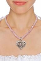 Vorschau: Kordelkette Herz mit Stein, rosa